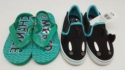 2 Pair Cat & Jack Toddler Boys Milo Shark Slip On Flip Flops