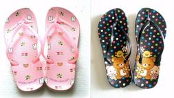 2 Pairs of Flip Flops Shoes Teddy Bear Flowers for Big Kids