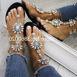 2018 shoes woman sandals women Rhinestones Chains Flat Sanda