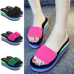 2020 Summer Woman Shoes Platform Fashion Slippers Wedge Beac