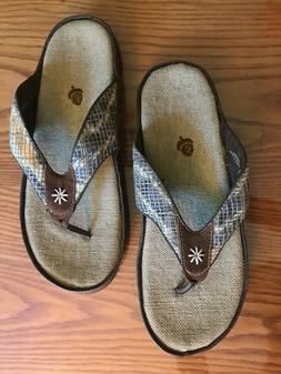 9 W Acorn Women's Hadley Thong Sandal Flip Flops Natural Col