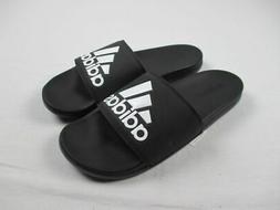 adidas Men's Adilette Comfort Slide Sandal Black/White, 10 M