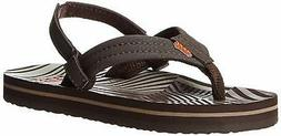 Reef Ahi Boys' Flip Flop ,Brown/Orange Disco,4/5 M US Big Ki