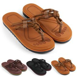 Anti-Slip Men's Thong Flip Flops Summer Beach Knotted Strap