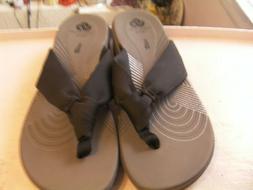 Clarks Arla Glison Cloud Stepper Wedge Flip Flops Size 9 Bla