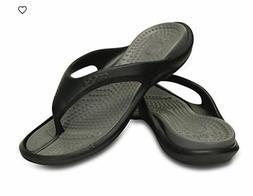 crocs Athens Flip Flop, Black/Smoke, 5 US Men / 7 US Women