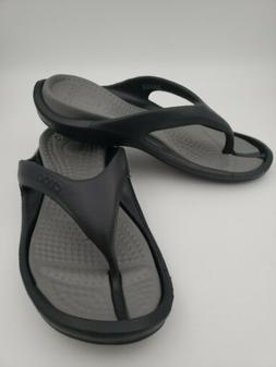 crocs Athens Flip Flop, Black/Smoke, 7 US Men / 9 US Women