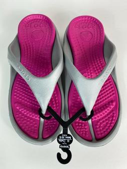 Crocs Athens Flip Flops Light Gray/Pink 10024-0FS