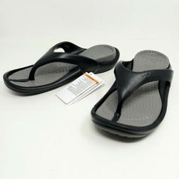 Crocs Athens Thong Flip Flops Comfort Sandals Black & Smoke