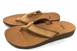 Teva Azure Flip Leather Women's Tan Flip Flops Sandals Shoes