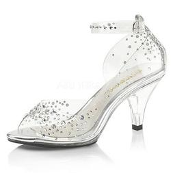 Fabulicious BELLE-330RS Womens Clear Platform Ankle Strap Sa