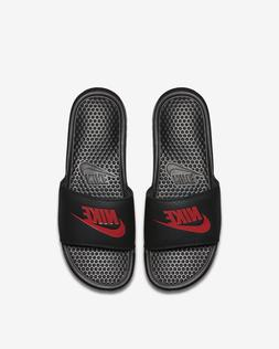 Nike Benassi Swoosh Men's Black Red Sandals Slides Slippers