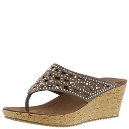 Skechers Beverlee Dazzled Womens Wedge Thong Sandals Taupe 7