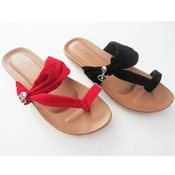 Top Moda Black & Red  Sandals Flip Flops With Heart Dangles