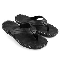 Black Anti-slip Leather Men's Thong Flip Flops Summer Groove