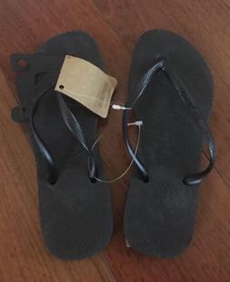 Havaianas Black Slim Preto flip flops Size 4/5 Authentic NEW