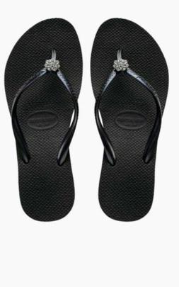 Black havaianas Swarovski crystal flip flops