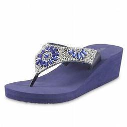 Olivia Miller Blue Rhinestone Wedge Sandals Flip Flops Sz S