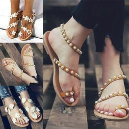 Boho Pearls Lady Summer Flat Flip Flops Sandals Girl Bandage