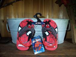 SPIDERMAN BOY TODDLER FLIP FLOPS SIZE MED 7-8 COLOR RED KIDS