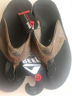 Reef Brand Men's Leather Flip Flops Size 13 NWT With Built