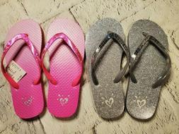 Brand New! Girls Justice Flip Flops Size 2-3, silver sparkle
