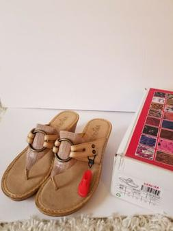 BRAND NEW ALEGRIA LOW WEDGE NATURAL COLOR FLIP FLOPS SIZE 39
