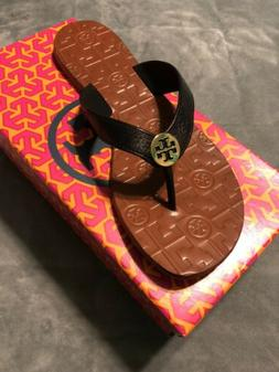 BRAND NIB Tory Burch THORA Black Gold Leather Sandals Flip F