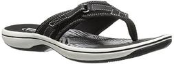 Clarks Women's Breeze Sea Flip Flop, New Black Synthetic, 9