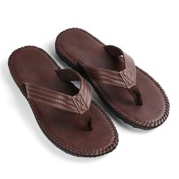Brown Anti-slip Leather Men's Thong Flip-Flops Summer Beach