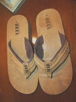Reef Brown Leather Flip Flops Men's 7  ~NEW~