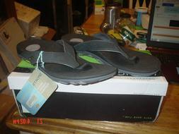 VIONIC Bryce Orthotic Flip Flops Mens Size 9  Black Leather