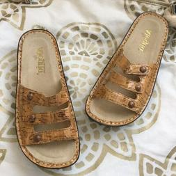 Alegria by PG Lite Leather Flip Flops Gold Lining Adjustable