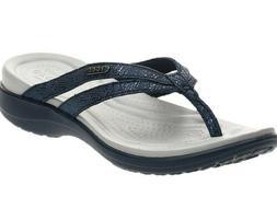 Crocs Capri Strappy Flip Flops Sandals  blue /metallics size