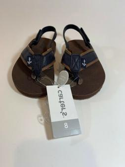 Carter's Toddler Boys Flip  Flops Brown Blue Trim Darius-CR