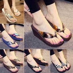 Casual Woman Summer Sandals High Heels Flip Flops Platform W
