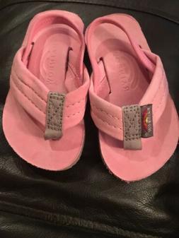 RAINBOW SANDALS Children's Girls Pink Leather  Flip Flops