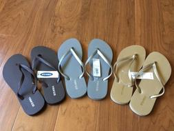 Old Navy Classic Flip Flops for Women Sandals Gold Silver or