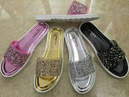 CLEARANCE Glitter Ladies Flip Flops Sandals Black Silver Pin