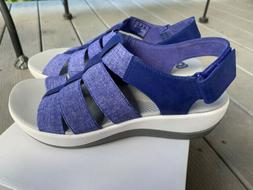 Clarks Cloud Steppers Sandals Bright Blue size 8