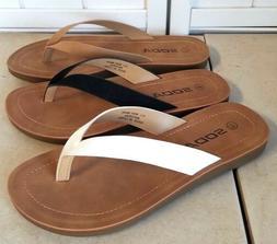Comfy Soda Sandals. Flip flops with faux suede upper Tan Bla