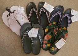 CROC'S women's flip flops floral Kadee II flamingo pink blac