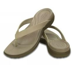 Crocs Capri V Women's Dual Comfort Tan Flip Flops Slip On