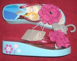 Disney Store Elsa and Anna Platform Flip Flops for Girls Fro