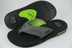 REEF FANNING BLACK/GREEN/GRAY FLIP FLOPS THONG SANDALS BEACH