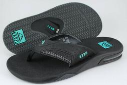 REEF FANNING BLACK/NEON BLUE/GRAY FLIP FLOPS THONG SANDALS B
