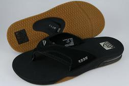 REEF FANNING BLACK/SILVER/GUM FLIP FLOPS THONG SANDALS BEACH