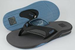REEF FANNING GRAY/LIGHT BLUE/BLACK FLIP FLOPS THONG SANDALS