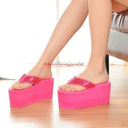 Fashion Womans Sandals Slippers Wedges High Heels Platform F