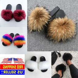 Faux Fur Slides Fuzzy Fluffy Slippers Flat Soft Sandals Open